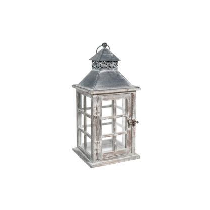 Lanterne en bois vieilli h32cm