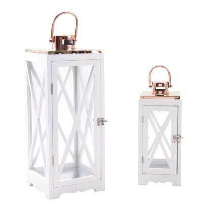 Lanterne en bois blanc + cuivre h53cm