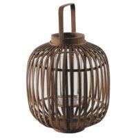 Lanterne bambou et verre h36cm