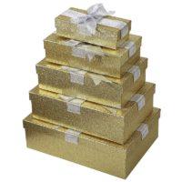 Lot de 5 boîtes cadeaux dorés