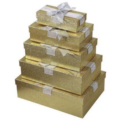 Location lot de 5 boîtes cadeaux dorés