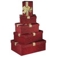 Lot de 5 boîtes cadeaux rouge