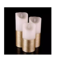 Lot de 3 bougies leds Or en cire