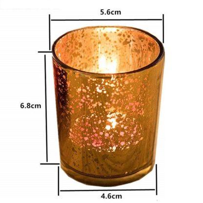 Photophore en verre doré rond
