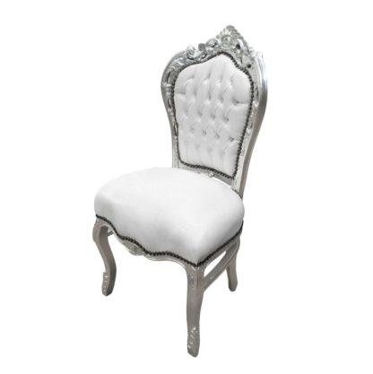 Location fauteuil baroque blanc et argent
