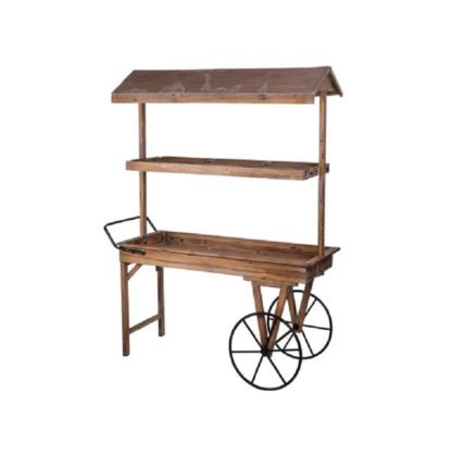 Location chariot champêtre en bois candy bar + roues métal noir