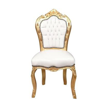 Location fauteuil baroque blanc et doré