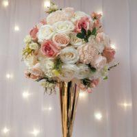 Boule de fleurs Lovely Blanc et rose D60cm