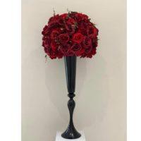 Location boule de fleurs rouge/bordeaux D60cm