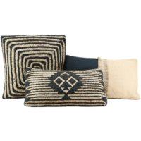 Location coussin jute & coton Noir -carré 45*45cm