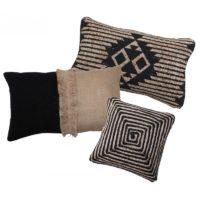 Location coussin jute & coton Noir -Motifs ethniques 30*50cm