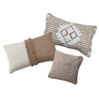 Location coussin jute & coton Blanc -Motifs ethniques 30*50cm