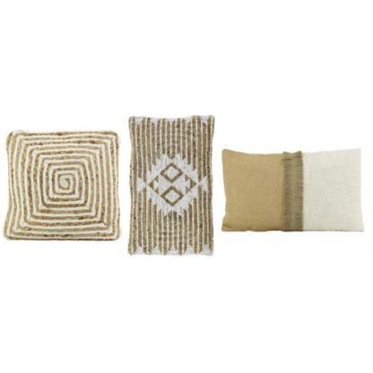 Location coussin jute & coton Blanc -carré 45*45cm