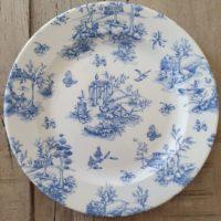 Location assiette plate vintage -VICTORIA (papier peint bleu) D27.6cm