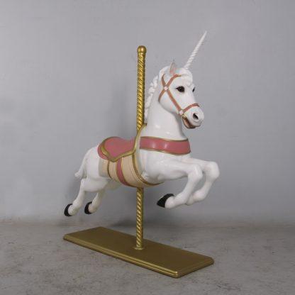 Location Cheval de carrousel licorne rose